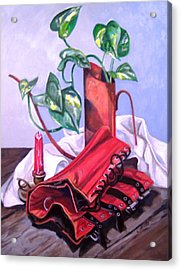 Acrylic Print featuring the painting Oil Can And Corset by Laura Aceto