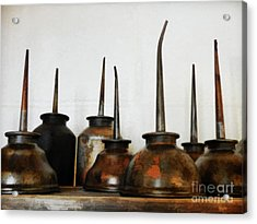 Oil Can, Rusted Acrylic Print by Laura Atkinson