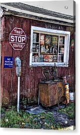 Oil Cans Acrylic Print by Janice Adomeit