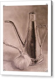 Oil Container And Garlic Acrylic Print by Crispin  Delgado