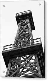 Oil Derrick In Black And White Acrylic Print
