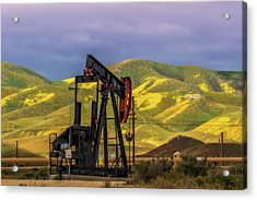 Acrylic Print featuring the photograph Oil Field And Temblor Hills by Marc Crumpler