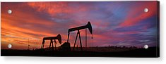 Oil Field Sunset Acrylic Print by Greg Iger