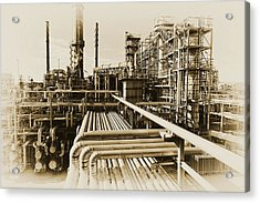 Oil Refinery In Old Vintage Processing Concept Acrylic Print