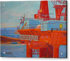 Oil Rig In Halifax Harbour Acrylic Print by Rae  Smith  PSC