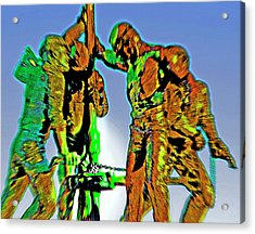 Oil Rig Workers 4 Acrylic Print by Steve Ohlsen