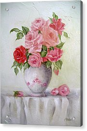Oil Vase Rose Acrylic Print