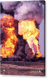 Oil Well Fire Acrylic Print by Larry Keahey