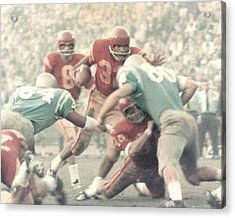 Oj Simpson Carrying The Ball Against Ucla Acrylic Print