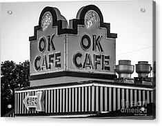 Ok Cafe Neon 2 B W Atlanta Classic Landmark Restaurant Art Acrylic Print
