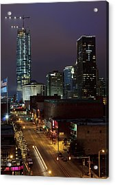 Okc Evening Acrylic Print by Ricky Barnard