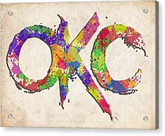 Okc Typography Watercolor Acrylic Print