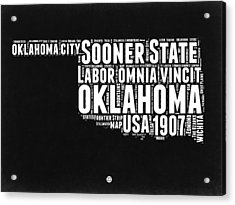 Oklahoma Black And White Map Acrylic Print by Naxart Studio