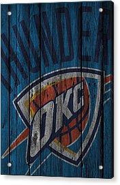 Oklahoma City Thunder Wood Fence Acrylic Print