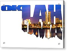 Oklahoma Typographic Letters - Riverside View Of Tulsa Oklahoma Skyline Acrylic Print by Gregory Ballos