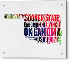 Oklahoma Watercolor Word Cloud  Acrylic Print