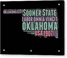 Oklahoma Word Cloud 1 Acrylic Print by Naxart Studio