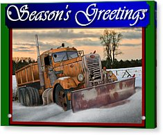 Ol' Pete Snowplow Christmas Card Acrylic Print