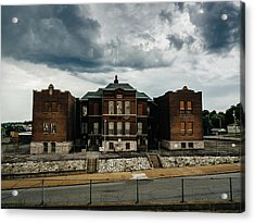 Old Abandoned School And Stormy Skies Acrylic Print by Dylan Murphy