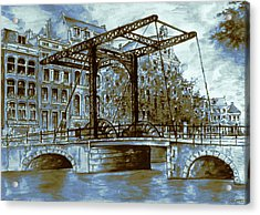 Old Amsterdam Bridge - Blue Water Color Acrylic Print by Art America Gallery Peter Potter