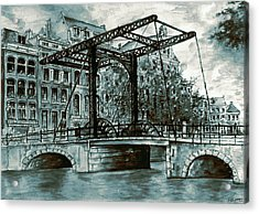 Old Amsterdam Bridge In Dutch Blue Water Colors Acrylic Print