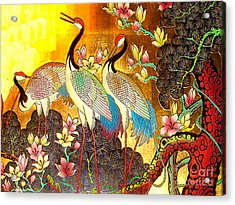 Old Ancient Chinese Screen Painting - Cranes Acrylic Print by Merton Allen