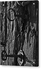 Old And Abandoned Wooden Door With Skeleton Keys Acrylic Print