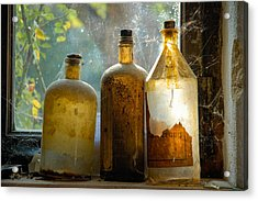 Old And Dusty Glass Bottles Acrylic Print by Matthias Hauser
