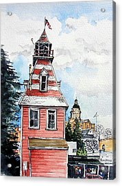 Acrylic Print featuring the painting Old Auburn Firehouse by Terry Banderas