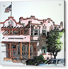 Acrylic Print featuring the painting Old Auburn Hotel by Terry Banderas