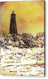 Acrylic Print featuring the painting Old Baldy Lighthouse- North Carolina by Ryan Fox