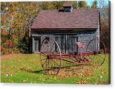 Old Barn And Rusty Farm Implement 02 Acrylic Print by Ken Morris