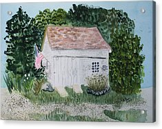 Acrylic Print featuring the painting Old Barn In Eastham Ma by Donna Walsh