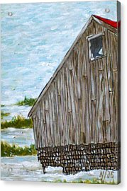 Old Barn In Winter Acrylic Print by Norman F Jackson