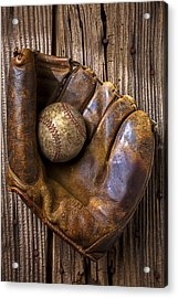 Old Baseball Mitt And Ball Acrylic Print by Garry Gay