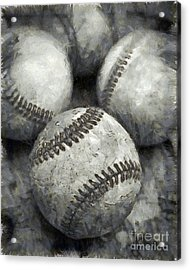 Old Baseballs Pencil Acrylic Print by Edward Fielding