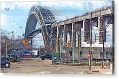 Old Bayonne Bridge Acrylic Print by Rod Pena