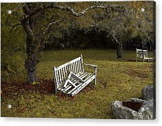Old Benches Acrylic Print by Alex Galkin