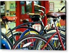 Old Bikes Acrylic Print by John Gusky