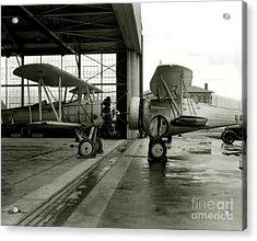 Old Biplanes In A Hanger  Acrylic Print by Jon Neidert
