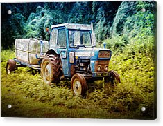 Old Blue Ford Tractor Acrylic Print by John Williams