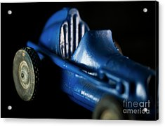 Acrylic Print featuring the photograph Old Blue Toy Race Car by Wilma Birdwell