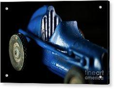 Old Blue Toy Race Car Acrylic Print by Wilma Birdwell