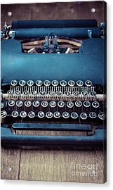 Acrylic Print featuring the photograph Old Blue Typewriter by Edward Fielding