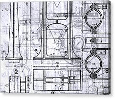 Old Blueprints Acrylic Print by Yali Shi