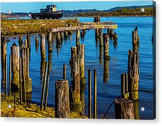 Old Boat And Pier Posts Acrylic Print