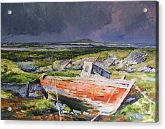 Old Boat On Shore Acrylic Print by Conor McGuire