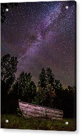 Old Boat Under The Stars Acrylic Print