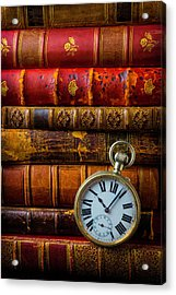Old Books And Pocket Watch Acrylic Print
