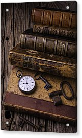Old Books And Watch Acrylic Print